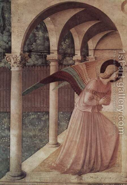 Proclamation, detail Annunciation angel by Angelico Fra - Reproduction Oil Painting