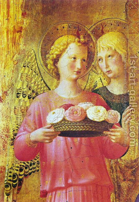 Triptych of Perugia. Virgin with child, angels and saints by Angelico Fra - Reproduction Oil Painting