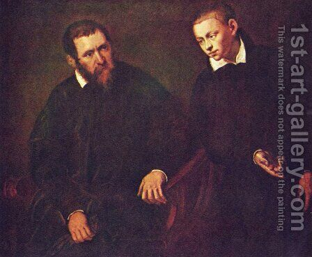 Double portrait of two men by Jacopo Tintoretto (Robusti) - Reproduction Oil Painting