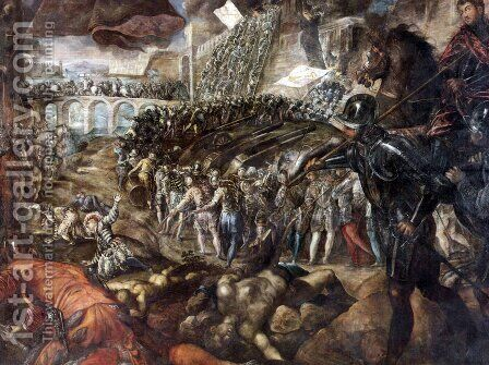 Federico II Gonzaga conquers Parma by Jacopo Tintoretto (Robusti) - Reproduction Oil Painting