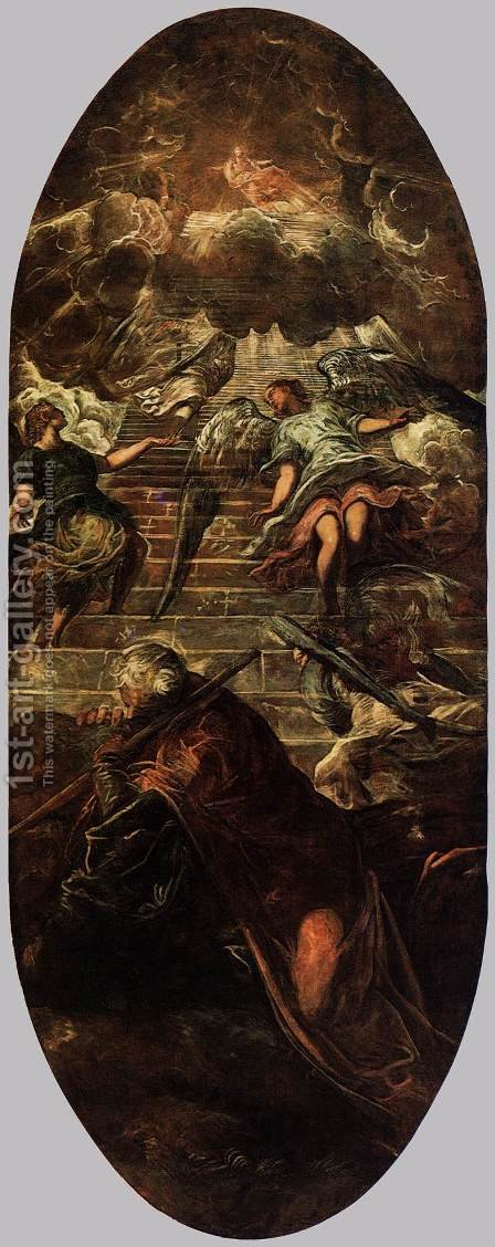 Jacob's Ladder by Jacopo Tintoretto (Robusti) - Reproduction Oil Painting