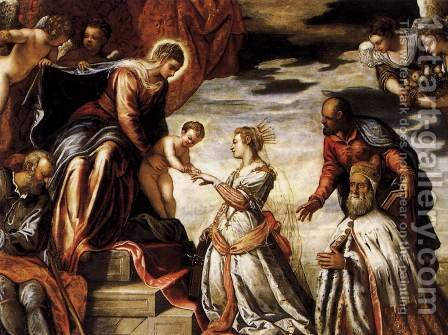 Mystic Marriage of St Catherine by Jacopo Tintoretto (Robusti) - Reproduction Oil Painting