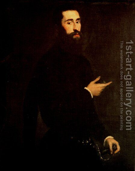 Portrait of a Genoese Nobleman by Jacopo Tintoretto (Robusti) - Reproduction Oil Painting