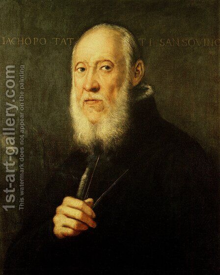 Portrait of Jacopo Sansovino by Jacopo Tintoretto (Robusti) - Reproduction Oil Painting