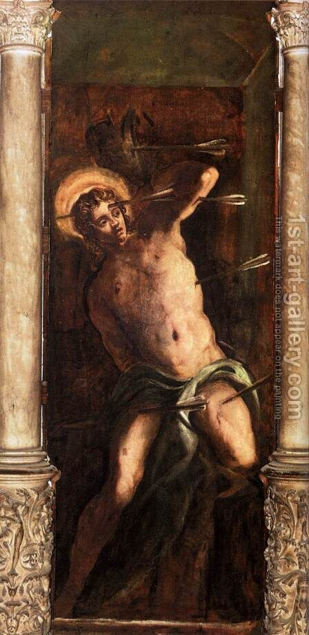 St Sebastian by Jacopo Tintoretto (Robusti) - Reproduction Oil Painting