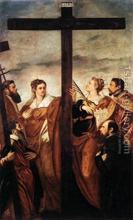 Sts Helen and Barbara Adoring the Cross by Jacopo Tintoretto (Robusti) - Reproduction Oil Painting