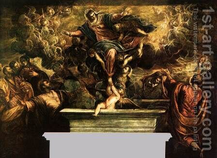 The Assumption of the Virgin by Jacopo Tintoretto (Robusti) - Reproduction Oil Painting