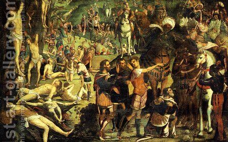 The Martyrdom of the Ten Thousand (fragment) by Jacopo Tintoretto (Robusti) - Reproduction Oil Painting