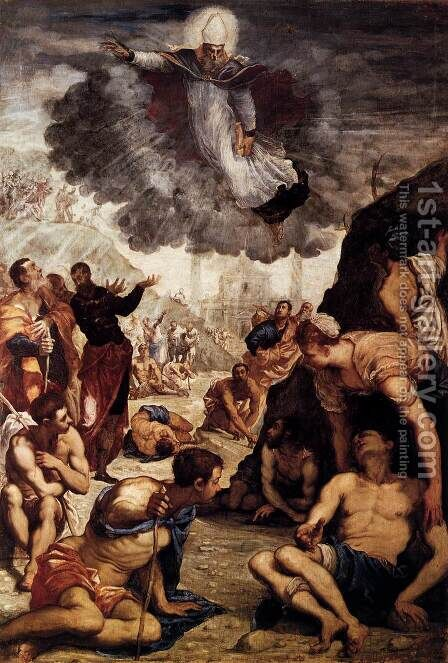 The Miracle of St Augustine by Jacopo Tintoretto (Robusti) - Reproduction Oil Painting