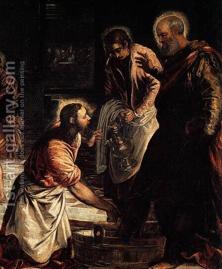 Christ Washing His Disciples' Feet (detail 1) by Jacopo Tintoretto (Robusti) - Reproduction Oil Painting