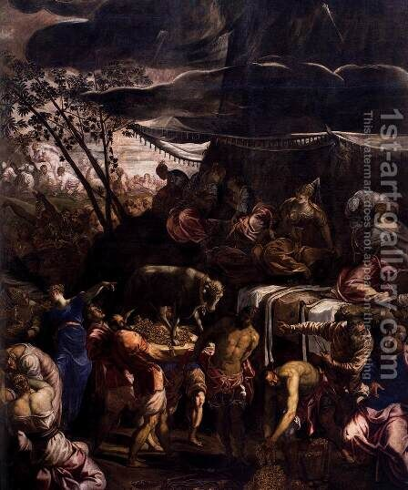 Moses Receiving the Tables of the Law (detail 2) by Jacopo Tintoretto (Robusti) - Reproduction Oil Painting