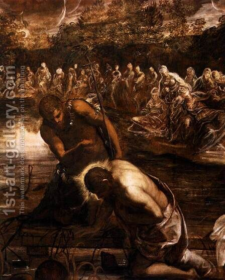 The Baptism of Christ (detail 2) by Jacopo Tintoretto (Robusti) - Reproduction Oil Painting