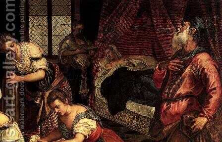 The Birth of John the Baptist (detail 1) by Jacopo Tintoretto (Robusti) - Reproduction Oil Painting