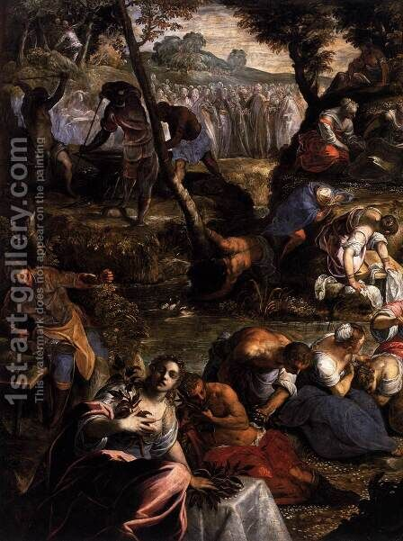 The Jews in the Desert (detail 1) by Jacopo Tintoretto (Robusti) - Reproduction Oil Painting