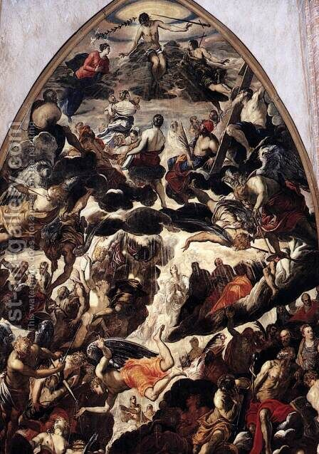 The Last Judgment (detail 1) by Jacopo Tintoretto (Robusti) - Reproduction Oil Painting
