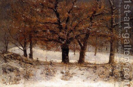 Landscape with snow by Gustave Courbet - Reproduction Oil Painting