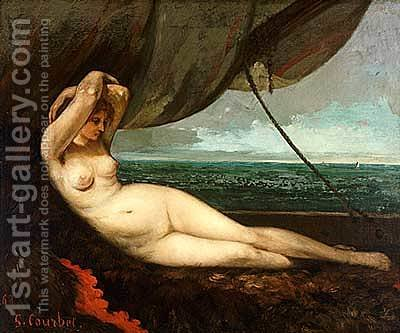 Nude reclining by the sea by Gustave Courbet - Reproduction Oil Painting