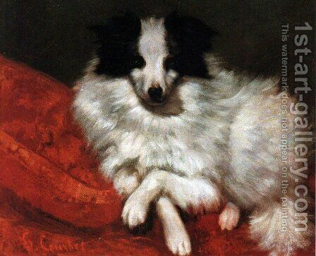 Sitting on cushions dog by Gustave Courbet - Reproduction Oil Painting