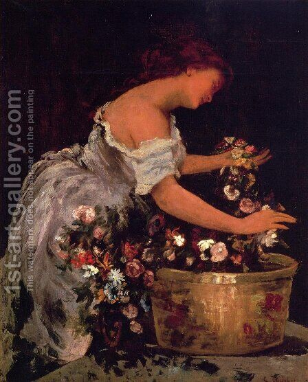 Young Girl Arranging Flowers by Gustave Courbet - Reproduction Oil Painting