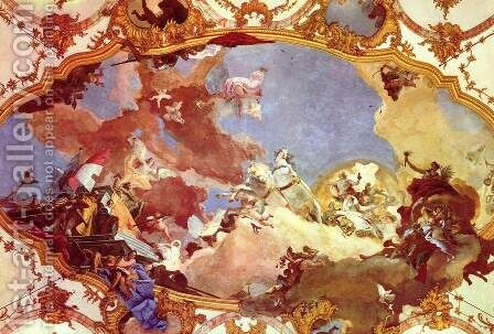 Frescoes in the imperial hall of the Würzburger residence castle, cover fresco, scene, Apollo suppli by Giovanni Battista Tiepolo - Reproduction Oil Painting