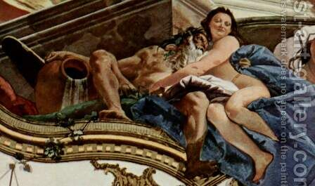 Frescoes in the imperial hall of the Würzburger residence castle, with historical scenes from the Ge 3 by Giovanni Battista Tiepolo - Reproduction Oil Painting