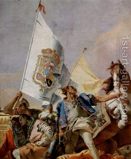 Frescoes in the Royal Palace of Madrid, scene, lauding Spain, detail 2 by Giovanni Battista Tiepolo - Reproduction Oil Painting