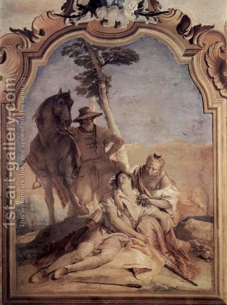 Frescoes in the Villa Vallmarana, Vicenca, scene, Angelica, in the company of a shepherd, maintains by Giovanni Battista Tiepolo - Reproduction Oil Painting