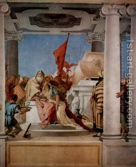 Frescoes in the Villa Valmarana 'ai Nani', Vicenza, scene, The Sacrifice of Iphigenia by Giovanni Battista Tiepolo - Reproduction Oil Painting