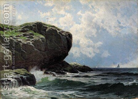 Rocky Head with Sailboats in Distance by Alfred Thompson Bricher - Reproduction Oil Painting