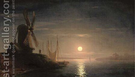 A windmill overlooking a moonlit bay by Ivan Konstantinovich Aivazovsky - Reproduction Oil Painting