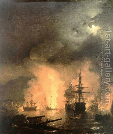 Battle of Chesma by Ivan Konstantinovich Aivazovsky - Reproduction Oil Painting