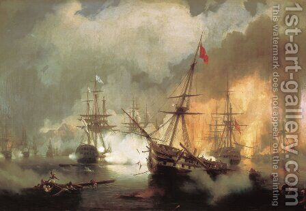 Battle of Navarino by Ivan Konstantinovich Aivazovsky - Reproduction Oil Painting