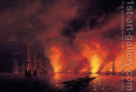 Battle of Sinope by Ivan Konstantinovich Aivazovsky - Reproduction Oil Painting