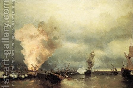 Battle of Vyborg Bay by Ivan Konstantinovich Aivazovsky - Reproduction Oil Painting