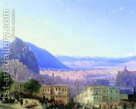 View of Tiflis (Tbilisi) in 1868 by Ivan Konstantinovich Aivazovsky - Reproduction Oil Painting