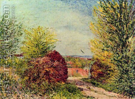 Away in Veneux Nadon in spring by Alfred Sisley - Reproduction Oil Painting