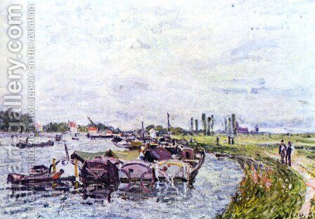 Freight punts with Saint Mammès by Alfred Sisley - Reproduction Oil Painting