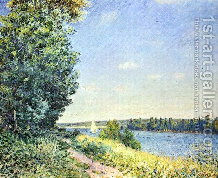 Normandie, Pfad am Wasser, abends bei Sahurs by Alfred Sisley - Reproduction Oil Painting