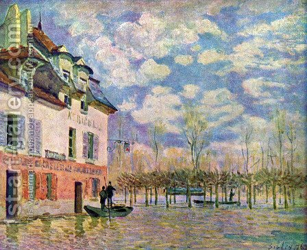 Punt in the inundation by Alfred Sisley - Reproduction Oil Painting
