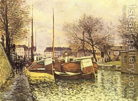 Punts on the channel Saint Martin in Paris by Alfred Sisley - Reproduction Oil Painting