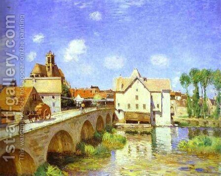 The Bridge at Moret by Alfred Sisley - Reproduction Oil Painting
