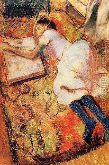 Young Girl Reading on the Floor by Edgar Degas - Reproduction Oil Painting