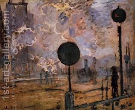 Exterior of Saint-Lazare Station, The Signal by Claude Oscar Monet - Reproduction Oil Painting