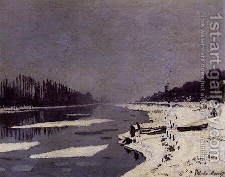 Ice Floes on the Seine at Bougival by Claude Oscar Monet - Reproduction Oil Painting