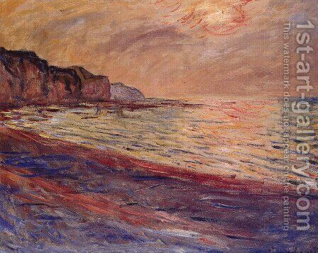 La plage Pourville soleil couchant 1882 by Claude Oscar Monet - Reproduction Oil Painting