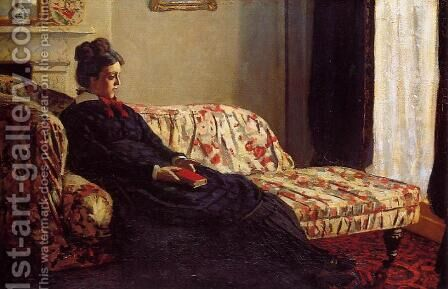 Meditation, Madame Monet Sitting on a Sofa by Claude Oscar Monet - Reproduction Oil Painting