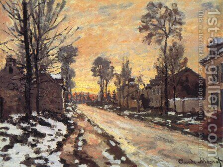 Road at Louveciennes, Melting Snow, Sunset by Claude Oscar Monet - Reproduction Oil Painting
