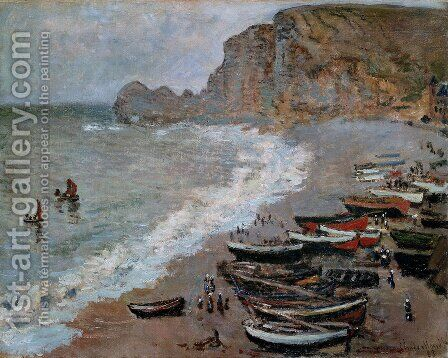 The Beach and Cliffs of Amont at Etretat 1883 by Claude Oscar Monet - Reproduction Oil Painting