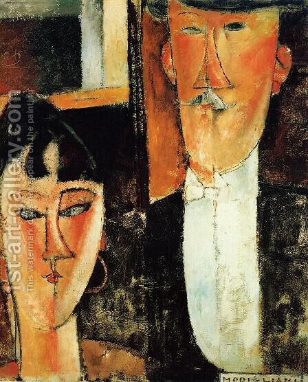 Bride and Groom (aka The Newlyweds) by Amedeo Modigliani - Reproduction Oil Painting
