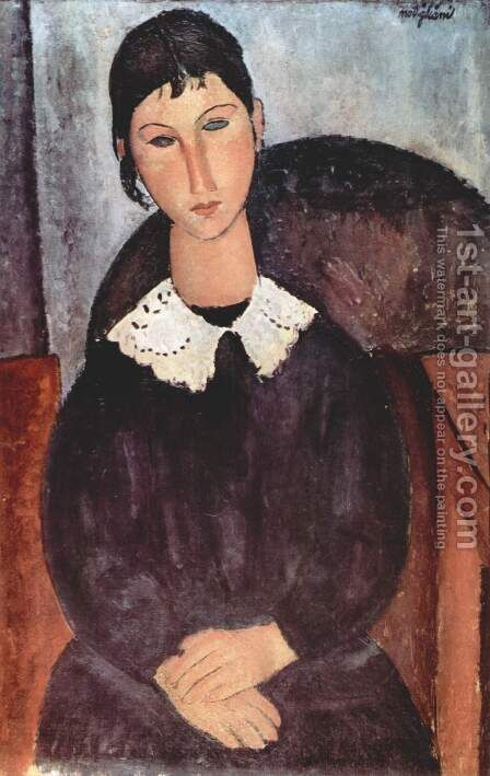 Elvira with white collar by Amedeo Modigliani - Reproduction Oil Painting